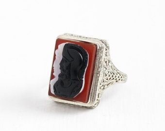 Sale - Antique 14k White Gold Filigree Cameo Ring - Size 7 1/4 Vintage Art Deco Red, White & Black Banded Agate Warrior Soldier Fine Jewelry