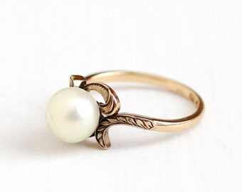 Sale - Vintage 14k Rosy Yellow Gold Cultured Pearl Solitaire Ring - Size 6 1/4 Art Deco 1930s Etched Leaf Vine Fine June Birthstone Jewelry