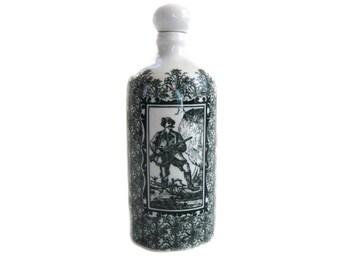 Vintage German Decanter Altenkunstadt Bavaria Porcelain Bottle Decanter Corked Lid Hunt Scenes