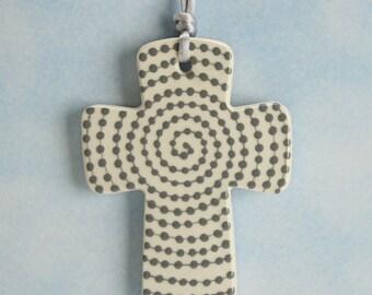 Handmade Ceramic Cross, Bright Gray Dots Cross, Confirmation Cross, Christian Ornament, Baptism Cross, Pottery Cross, Christening Favors