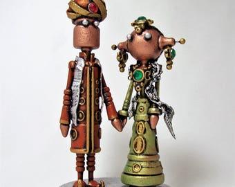 Indian Wedding Cake Topper Desi Bride and Groom Punjabi Marriage Keepsake Sikh Wedding Gift Wood Figurines