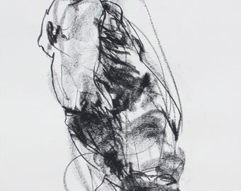 "Expressive Male Figure Drawing  - 11 x 14"",  fine art - Drawing 249 - charcoal on paper - original drawing"