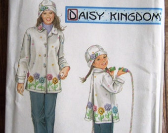 Little Girls Fleece Coat and Hat Sizes 3 4 5 6 7 8 Daisy Kingdom Simplicity Pattern 5946 UNCUT