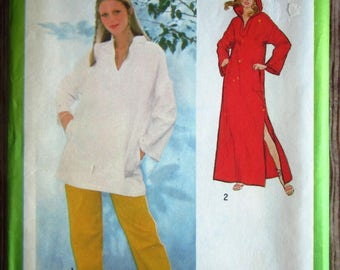 Vintage 1970s Misses Pullover Caftan or Tunic and Pants Size 10 Simplicity Pattern 8993 UNCUT