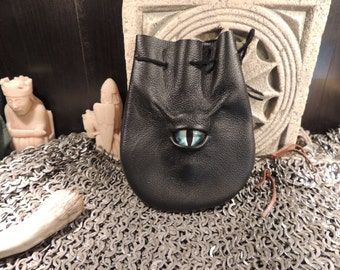 Dragon eye dice bag (Black  leather with Blue Eye)----New Style-----