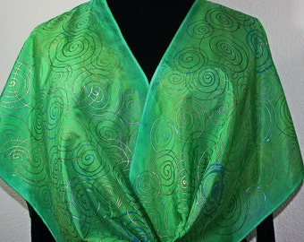 Silk Scarf Hand Painted. Green, Teal, Turquoise Silk Shawl SPRING GLAMOUR. Large 14x72. Silk Scarves Colorado. Bridesmaid Gift.