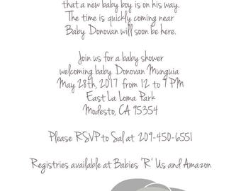 RESERVED for Samantha -- printable baby shower invitation and diaper raffle tickets