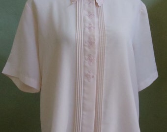 """Vintage Yves St. Clair Short Sleeved Light Pink Blouse with Embroidered Detailing, Cutwork and Pin Tucks Bust 47"""" Waist 48"""""""