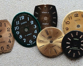 Small Vintage Watch Faces - set of 6 -- D9
