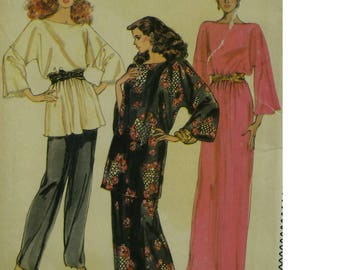 Kimono Style Tunic Pattern, Wide Leg Pants, Bateau Neck, Wide Sleeves, Belted, Long Slit Skirt, Vogue No. 8131 UNCUT Size 12 14 16