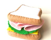 felt food ham sandwich set eco friendly felt play food for toy kitchen felt sandwich ham and cheese, toy sandwich, pretend sandwich