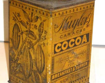 antique tin Huyler's lithographed cocoa new york