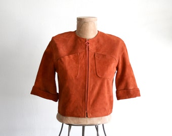 Rust Cropped Suede Jacket