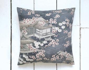 Grey Blue Vintage Japanese Kimono Silk Fabric Pillow Cushion 'Blossom House' (1970's)