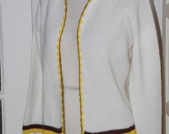 On Sale, 50s Orlon Cardigan Sweater, White with Brown, Yellow End Stripes, Open Sweater, Size M