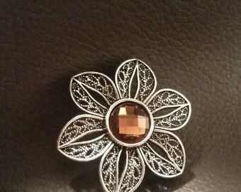 Brown Flower Ring Filigree Gift for Women Teen Trending Jewelry Statement Ring Trending