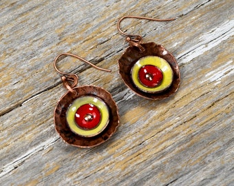 Recaimed Copper and Enameled Disc Earrings - Hammered Reclamied Copper with Red and Yellow Fire Torch Enamel Discs Earring Set - ReaganJuel