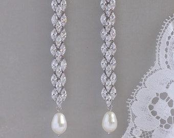 Crystal Earrings,  Long Crystal Earrings, Pearl Drop Earrings, Chandelier Earrings, Crystal Bridal Earrings, FELICITY