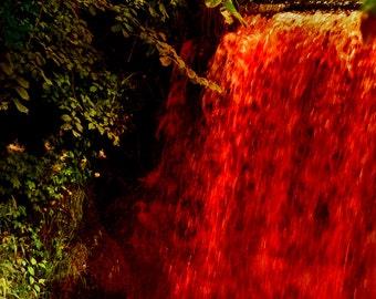 Horror Print - Raining Blood, Waterfall, Red Water, Blood, Trees, A3, Horror Scene,Dark Print, Digital Art,Horror Art,Dark Art, Red Print