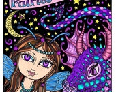 Fairies and Dragons Coloring book for all ages adults kids tweens Animee Fantasy Art Fairy Dragon Color pages