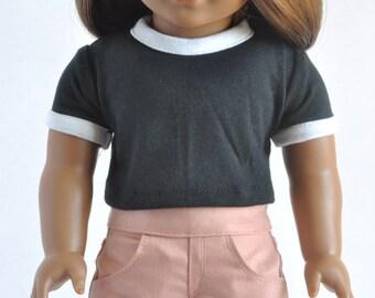 American Made Clothes - Black, Crop Ringer Tee, T-Shirt, Top, Shirt, 18 inch, Modern, Trendy