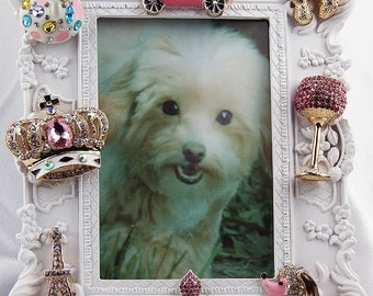 Beautiful Pink Poodle Paris Themed, Rhinestone and Crystals, Jeweled White Picture Frame, All Occasion Gift