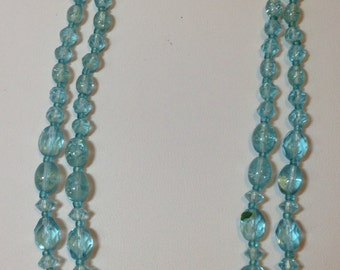 Turquoise Bead Necklace // Two Strand // Signed West Germany //  Vintage