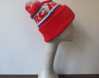 Vintage '70s'80s RC Cola Knit Stocking Hat, Cap w/ Huge Pom Pom!