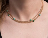 Layaway Payment #3 of 3 for L-------Stunning Turquoise and Rose Gold 3 Strand 14k Gold Necklace Choker