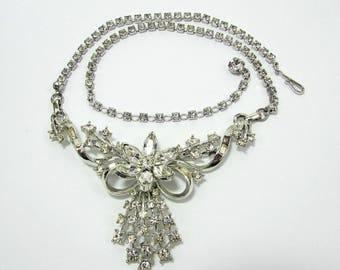 Coro Rhinestone Necklace - Ribbon Necklace - Silver tone setting - 1950s