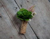 Wine Cork Boutonniere - Green and Pink Succulent Wedding Boutonniere