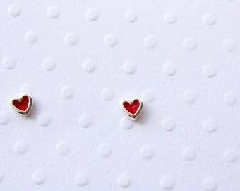 Tiny Red Heart Stud Earrings, Glass Window Heart, Sterling Silver Post Stud Earrings, Ready to Gift, Ready to Ship