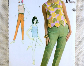 Advance 3162 Bust 31.5 Vintage pattern Cigarette pants capri skinny pants 1960s Toreador patio set side zipper