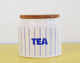 Hornsea Tea Storage Jar, Vintage Hornsea Pottery, Blue and White Striped Tea Jar, Ceramic Storage Jar with Wooden Lid, Hornsea Pottery