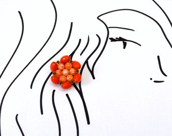 Vintage Orange Cluster Clip-On Earrings