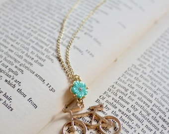 Gold bicycle and turquoise flower necklace, Pedal Pusher