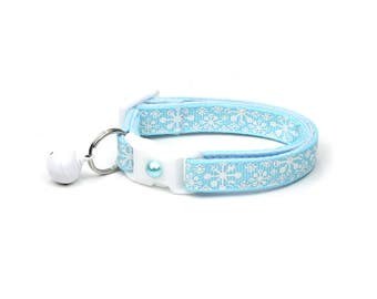 Snowflake Cat Collar - Whimsical Snowflakes on Baby Blue - Breakaway Cat Collar  - Kitten or Large Size