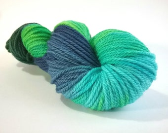 CLEARANCE...REDUCED...Driving me Crazy hand dyed Blue Faced Leicester aran weight superwash yarn
