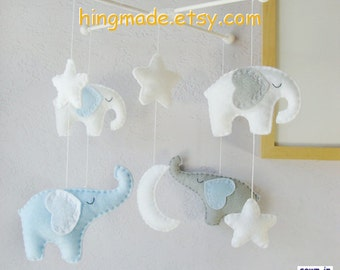 Baby Mobile, Baby Crib Mobile, Children Decor, Elephant Mobile, Baby Boy Mobile, Starry Night Cot Mobile, Moon and Star Cot
