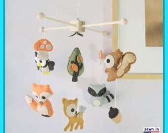 Baby Mobile, Children Decor, Woodland Friends Mobile, Forest Animals Mobile, Deer Fox Owl Raccoon, Custom Mobile