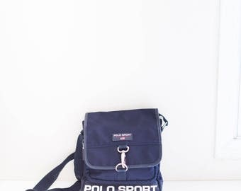 POLO SPORT navy vinyl canvas satchel cross body bag