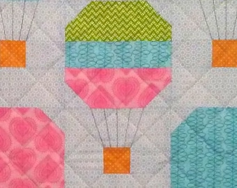 Balloon Ride Patchwork Quilt Block Pattern