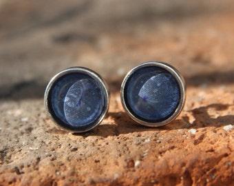 Handmade Custom Solid Pewter & Resin Cufflinks in Midnight Blue - Dark Blue, Husband, groom, anniversary, birthday, bride, wedding