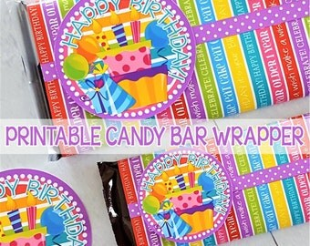 BIRTHDAY Candy Bar Wrapper, Birthday Gift Tag, Happy Birthday, Printable Party Favor, Birthday Printables (RAINBOW) - Instant Download
