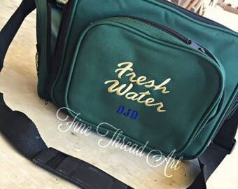 Fishing Tackle Box Bag in Dark Green with Monogram or Name Embroidered Father's Day Dad Fresh Water Salt Water Lure Jig Holder Organizer