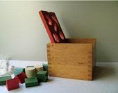 Vintage Wooden Shape Sorter Box Toy Sorting Box All 10 Wood Blocks Original Creative Playthings Finland Hinged Lid Childs Room Decor Nursery