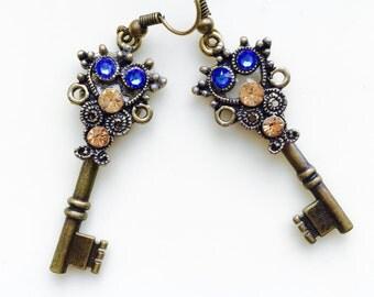 Green  Earrings, Brass Earrings, Brass and Green Swarovski Earring Keys