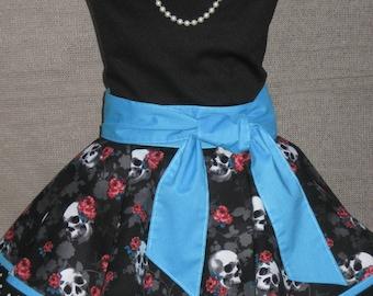Skulls and Roses on Teal Ladies Tween Teen Fancy Hostess Half Apron small