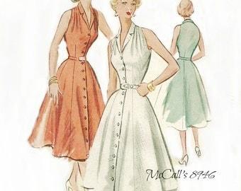 McCall's 8946 Halter Style Dress Pattern Full Skirt Size 12 Bust 30 FF