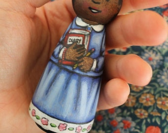 Wood Peg Doll Girl -watercolored large size 3.5""